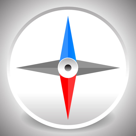 dial compass: Compass icon, dial of a compass with 4-way pointers. Vector.
