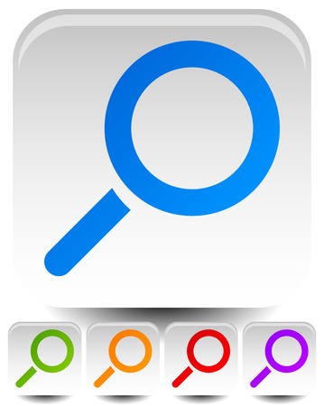 magnification icon: Magnifier symbols over rounded squares. (Set of multiply colors.)