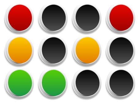 trafic stop: Traffic light (traffic lamp, semaphore) concept graphics. Green, yellow, red lights.