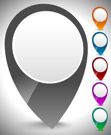 multiply: Indicador de mapa en 3D, conjunto pin de mapa en colores se multiplican