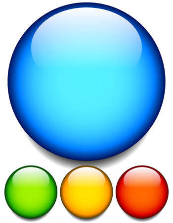 green button: Empty glossy balls, circle buttons. 4 colors. Editable vector.