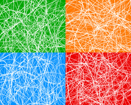 abstractionism: Random lines, abstract wavy lines. Vector background. Set of 4 colors, with different textures. Illustration
