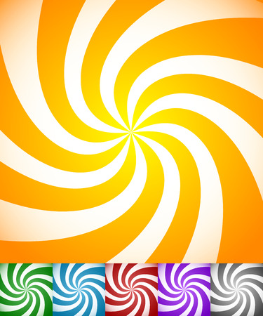 purple swirls: Colorful background set with swirling, rotating, twirling stripes, lines. Bright orange, green, blue, red, purple colors and a grayscale version. Illustration