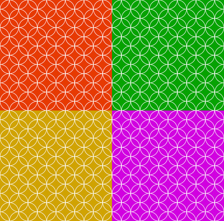 Set of seamless patterns in different colors with overlapping circle shapes.