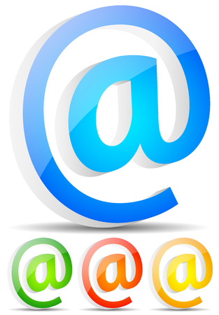 adress: At symbols in 3d. Email, communication, support themes. 3 colors with glossy effect. Illustration