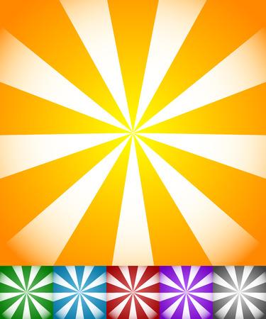 radiating: L�neas que irradian sol, explosi�n de la estrella fondos. Conjunto de 6 colores amarillo-naranja, verde, azul, rojo, p�rpura y fondos negros. Vectores