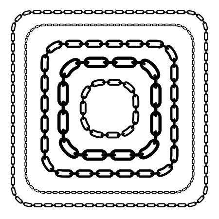 Kettingen, ketting link vormen geïsoleerd. Verschillende versies. Bewerkbare vector.