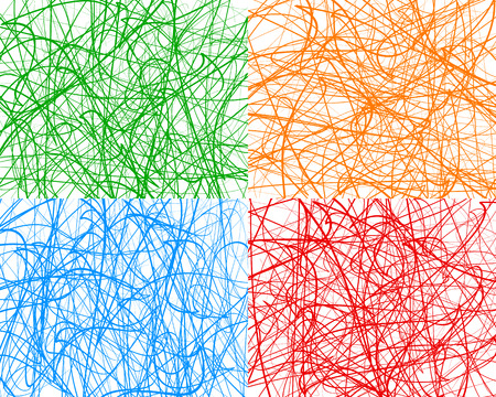 entangled: Random lines, abstract wavy lines. Vector background. Set of 4 colors, with different textures. Illustration
