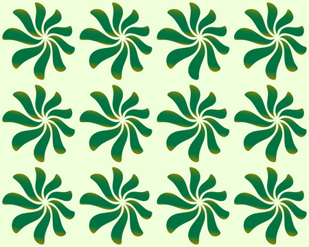 twisty: Repeatable background (pattern) with leaves, petal shapes. Green, natural pattern in classic style. (Seamlessly repeatable). Illustration