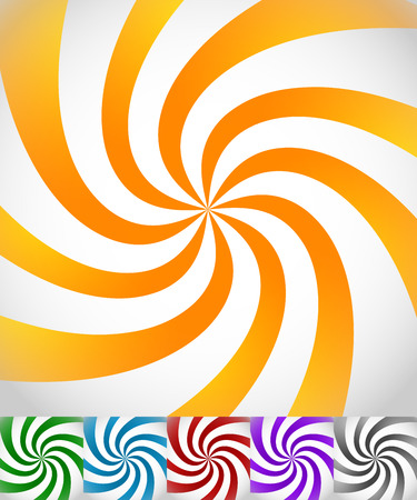 twirling: Colorful background set with swirling, rotating, twirling stripes, lines. Bright orange, green, blue, red, purple colors and a grayscale version. Illustration