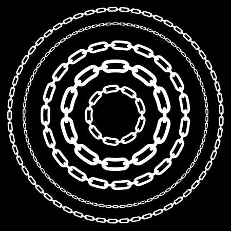 cadenas: Cadenas, eslabones de cadena formas aisladas. Varias versiones. Vectorial editable.