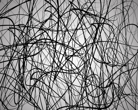 wriggle: Random lines, abstract wavy lines. Artistic black and white vector background. Illustration