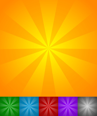 fondos negros: L�neas que irradian sol, explosi�n de la estrella fondos. Conjunto de 6 colores amarillo-naranja, verde, azul, rojo, p�rpura y fondos negros. Vectores