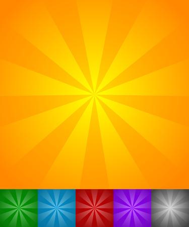radiating: Linee radianti sole, stella scoppio sfondi. Set di 6 colori, giallo-arancio, verde, blu, rosso, viola e sfondi neri.