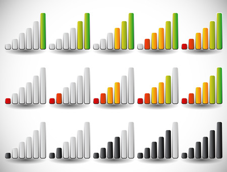 high volume: Increasing bars as level or progress indicators, signal strength, completion indicators