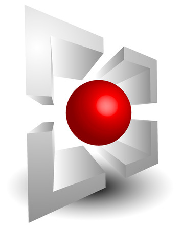 accuracy: abstract targetmark, crosshair with red sphere at center, 3d vector graphics