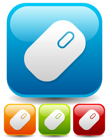 techology: Icons, buttons with mouse symbol. Technology, computing, computer, hardware concepts. Set of mouse icons in four colors.