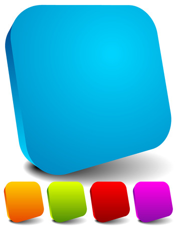 square button: Round squares with empty space. Set of five colors.