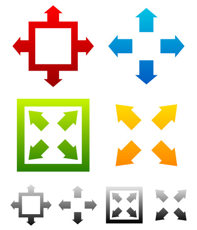 maximize: Various resize, maximize symbols with colors. Full screen symbols for interfaces