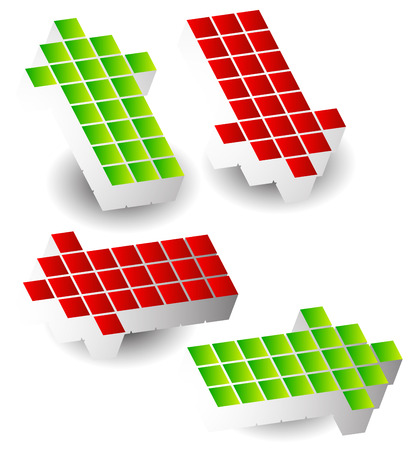 arow: Set of 4 arrow pointing left, right, up, down. 3d arrows made of cubes, blocks.