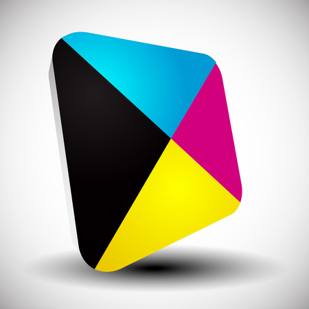 4 color printing: Cmyk icon. Graphics for prepress, DTP, press, printing concepts. Stock Photo