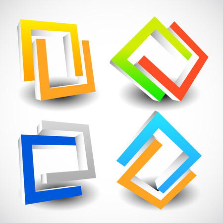 interlocking: Interlocking colorful U shapes. Generic icons, design elements. Four versions.