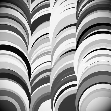 grayscale: Overlapping circle. Grayscale artistic, abstract vector background. Stock Photo
