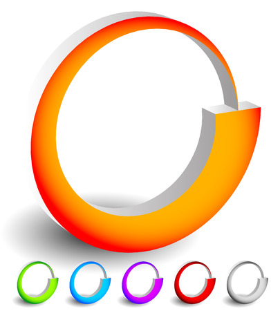 preloader: Abstract spinning, rotating shapes. 6 colors included: Orange, green, blue, purple, red an gray. Generic icons, preloader like graphics. Stock Photo