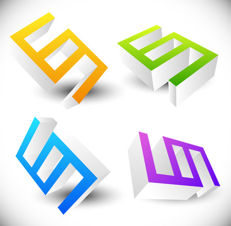3d icons: Angular 3d icons rotated in 4 angles.
