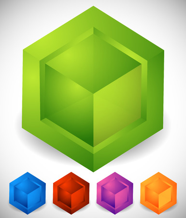 generic: Abstract isometric cube icons. Generic, modern vector icons. Illustration