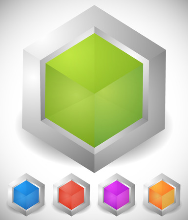 Abstract isometric cube icons. Generic, modern vector icons. Illustration