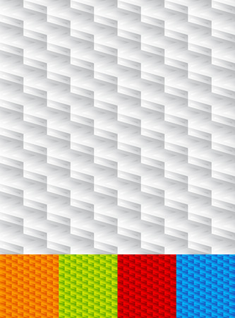 tilable: Set of seamlessly repeatable geometric patterns, orange, blue, green, red backgrounds. Illustration