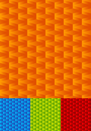 seamlessly: Set of seamlessly repeatable geometric patterns, orange, blue, green, red backgrounds. Illustration