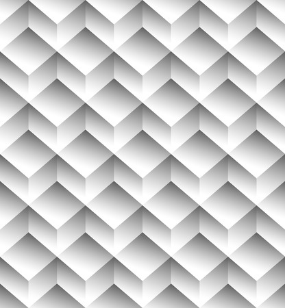 Grayscale, monochrome seamless pattern, background with 3d cubes Illustration
