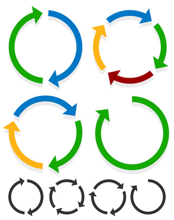 Flèches circulaires pour le recyclage, la répétition, la rotation ou le cycle, la synchronisation, les concepts avant et arrière. Flèches dans les graphiques vectoriels de cercle.