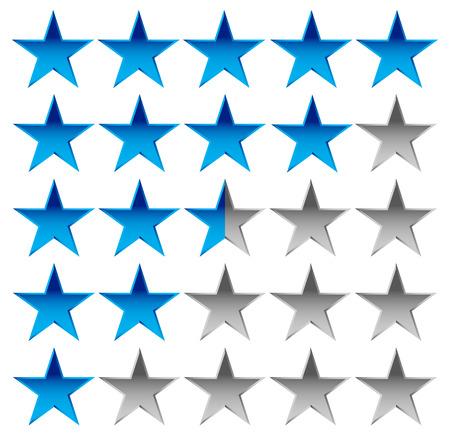 Star rating element voor de waardering, kwaliteit, waardering of klanttevredenheid, feedback concepten. Bewerkbare vector.
