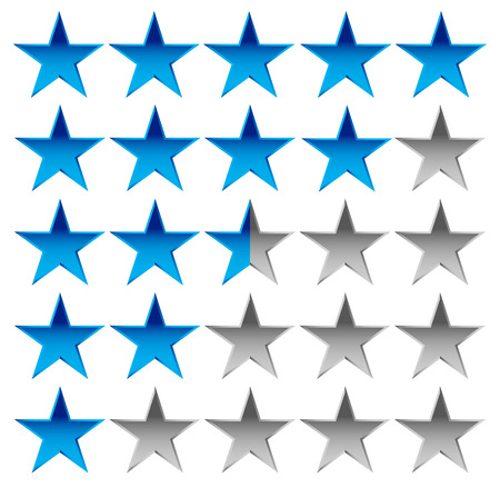 Star rating element for valuation, quality, rating or customer satisfaction, feedback concepts. Editable vector.
