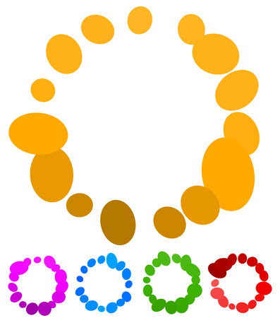 buffer: Circular preloader, buffer shapes. Colorful progress indicator icon set with four steps, phases. Rotating circle shapes. Vector.