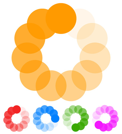 preloader: Circular preloader, buffer shapes. Colorful progress indicator icon set with four steps, phases. Rotating circle shapes. Vector.