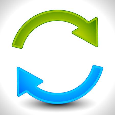 Ronde pijlen te recyclen, herhaling, rotatie of cyclus, synchronisatie, vooruit, achteruit concepten. Pijlen in cirkel vector graphics.