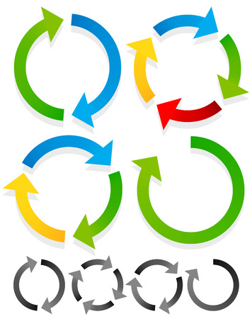 Circular arrows for recycle, repetition, rotation or cycle, synchronization, forward, backward concepts. Arrows in circle vector graphics. Stock Illustratie