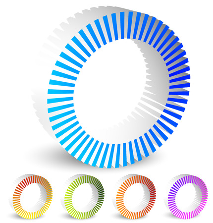 pre loader: Circular preloader, buffer shapes. Colorful progress indicator icon set with four steps, phases. Rotating circle shapes. Vector.