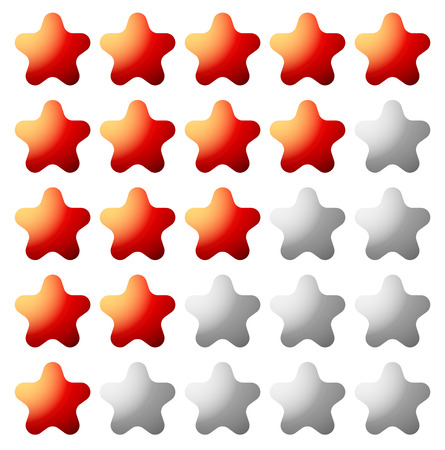 valuation: Star rating element for valuation, quality, rating or customer satisfaction, feedback concepts. Editable vector.