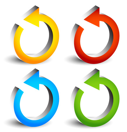 circular arrows: Circular arrows for recycle, repetition, rotation or cycle, synchronization, forward, backward concepts. Arrows in circle vector graphics. Illustration
