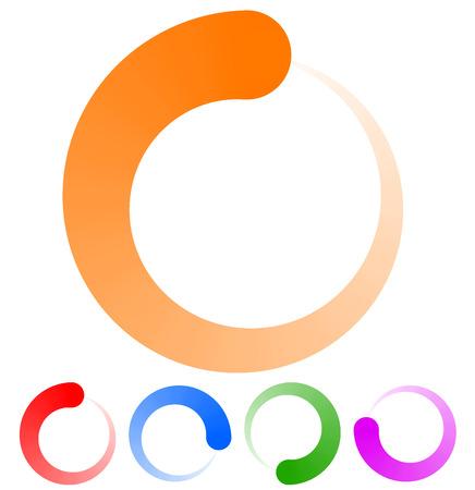 Circulaire preloader, buffer vormen. Kleurrijke vooruitgang indicator icoon met vier stappen, fasen. Draaiende cirkel vormen. Vector.