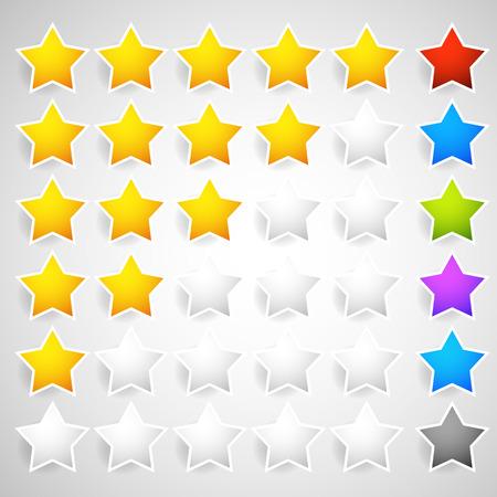 Sterne-Element für die Bewertung, Qualität, Kategorien und die Kundenzufriedenheit, Feedback Konzepte. Editierbare Vektor.