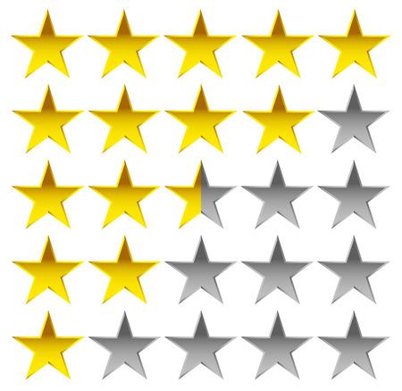 Elemento di stelle per la valutazione, la qualità, rating o la soddisfazione del cliente, i concetti di feedback. Vettoriale modificabile.