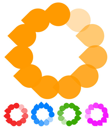 pre loader: Circular preloader, buffer shapes. Colorful progress indicator icon set with four steps, phases. Rotating circle shapes. Vector.