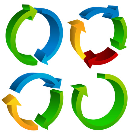 arow: Circular arrows for recycle, repetition, rotation or cycle, synchronization, forward, backward concepts. Arrows in circle vector graphics. Illustration
