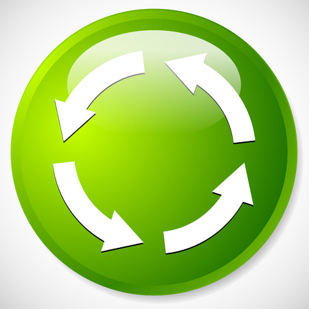 Circular arrows for recycle, repetition, rotation or cycle, synchronization, forward, backward concepts. Arrows in circle vector graphics. Çizim